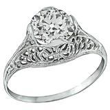Edwardian GIA Cert 1.41 Carat Old European Cut Diamond Gold Engagement Ring