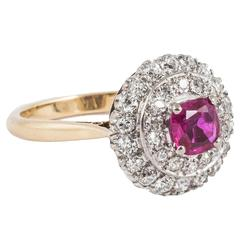 1920s Burma Ruby 2 Row Diamond Gold Cluster Ring