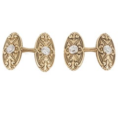 Antique Cufflinks, Carved Scrolls in 14 Karat Gold & Central Diamond, USA 1900