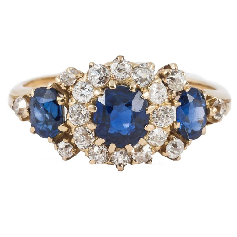 Ring ,19th Century Sapphire and Diamond  and Gold 3 Stone Cluster