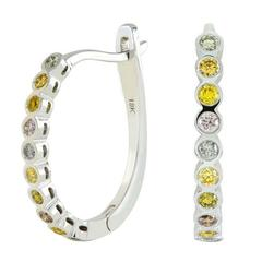 Natural Multicolored Diamond Gold Earrings and Band Ring Set
