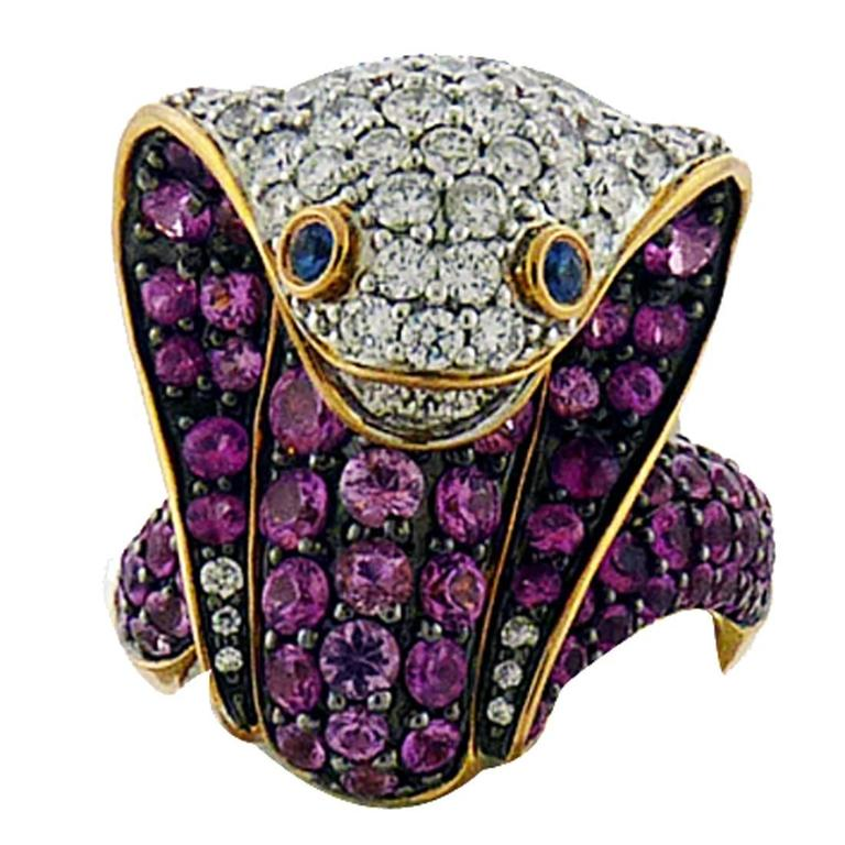 Adamas Pink Sapphire & Diamond 18K Yellow Gold Cobra Snake Ring Retail $12,565 1