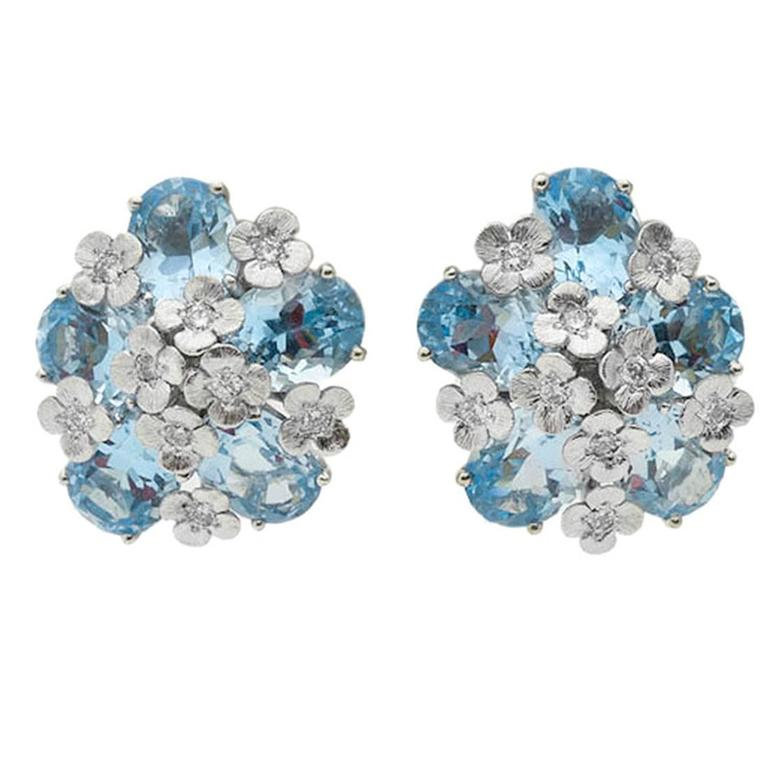 Bielka Blue Topaz Diamond Gold Monet Earclips 1
