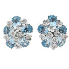 Bielka Blue Topaz Diamond Gold Monet Earclips