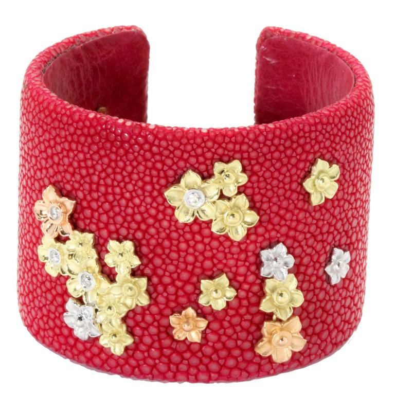 Stambolian Fuchsia Diamond Gold Stingray Cuff Bracelet