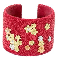 Stambolian Fuchsia Tri-Color Yellow White Pink Gold Stingray Cuff Bracelet
