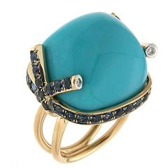 Cabochon Turquoise Ring with Blue Sapphires and Diamond Tips