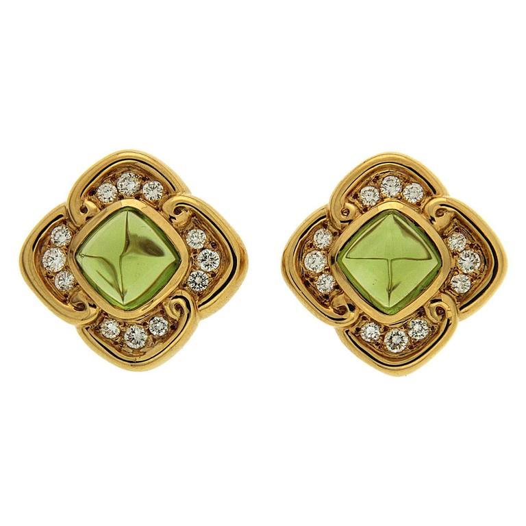 Cushion Peridot Diamond Gold Earrings