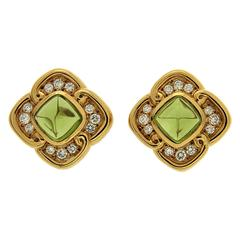 Cushion Peridot Diamond Gold Earrings
