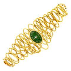 Piaget Yellow Gold Jade Bracelet Wristwatch