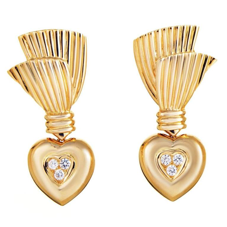 Van Cleef & Arpels Diamond Gold Heart Earrings 1