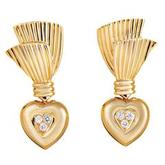 Van Cleef & Arpels Diamond Gold Heart Earrings