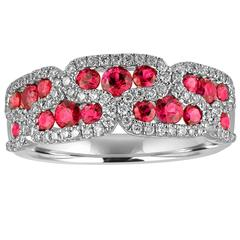 1.28 Carats Ruby and Diamond Gold Band Ring