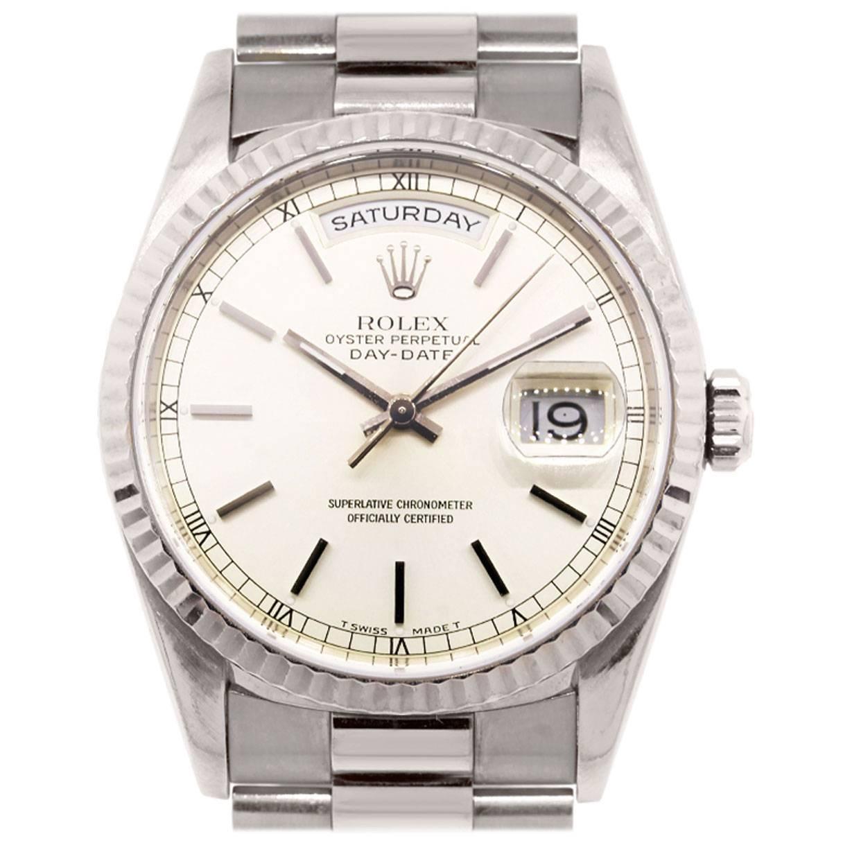 rolex white gold day date presidential wristwatch ref