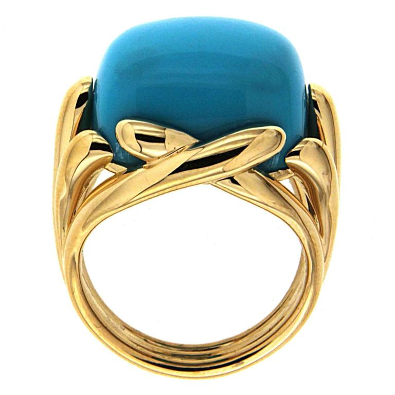 Valentin Magro Fluted Criss Cross Cushion Turquoise Sleeping Beauty Ring For Sale