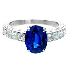 Cartier 3.09 Carat Natural Sapphire Diamond Platinum Engagement Ring