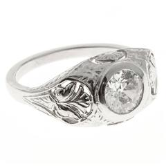 Diamond Platinum Pierced and Engraved Engagement Ring
