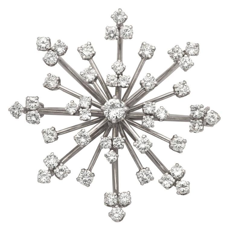 Diamond Starburst Platinum Brooch