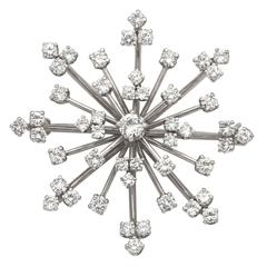 Diamond Starburst Platinum Brooch