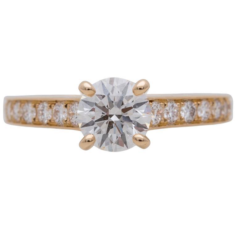 Cartier 1.06 Carat GIA Certified Diamond Gold Ring