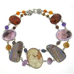Impressive Stephen Dweck One of a Kind Sterling Multicolor Gemstone Necklace