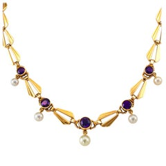 Retro Amethyst Cultured Pearl Gold Necklace