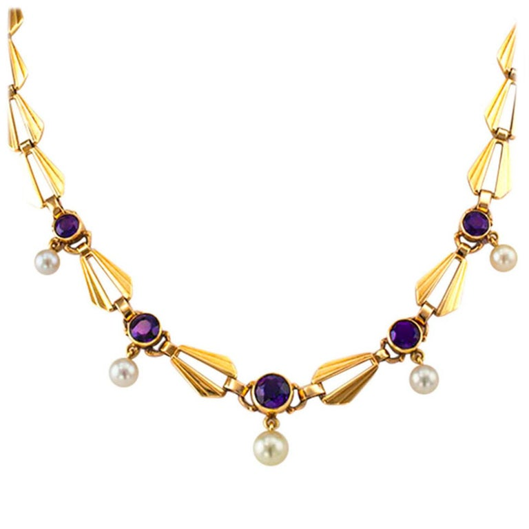Retro Amethyst Cultured Pearl Gold Necklace For Sale