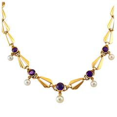 Retro Amethyst and Cultured Pearl Necklace