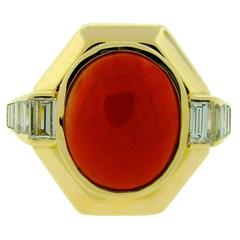 1980s Coral Diamond Gold Ring