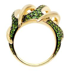 Tsavorite Garnet 18 Karat Yellow Gold Venus Flytrap Cocktail Ring