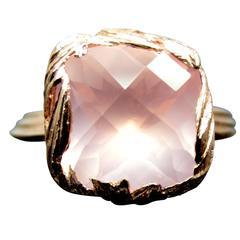 Rose Quartz Gold Feather Ring