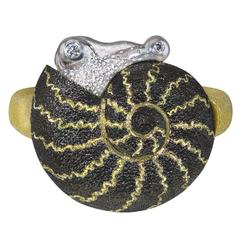Signature Gold Snail Ring by Alex Soldier. Handmade in NYC. Limited Edition.
