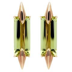Lemon Quartz Baguette Audacity Tapered Spike Gold Earrings