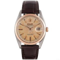 Rolex Rose Gold Stainless Steel Datejust Tropical Patina Wristwatch