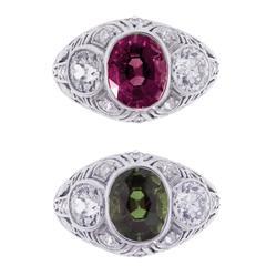 Rare Art Deco Gem Alexandrite Diamond Platinum Ring