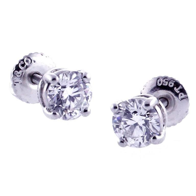Tiffany & Co. 1.05 Carat Diamond Solitaire Stud Earrings 1