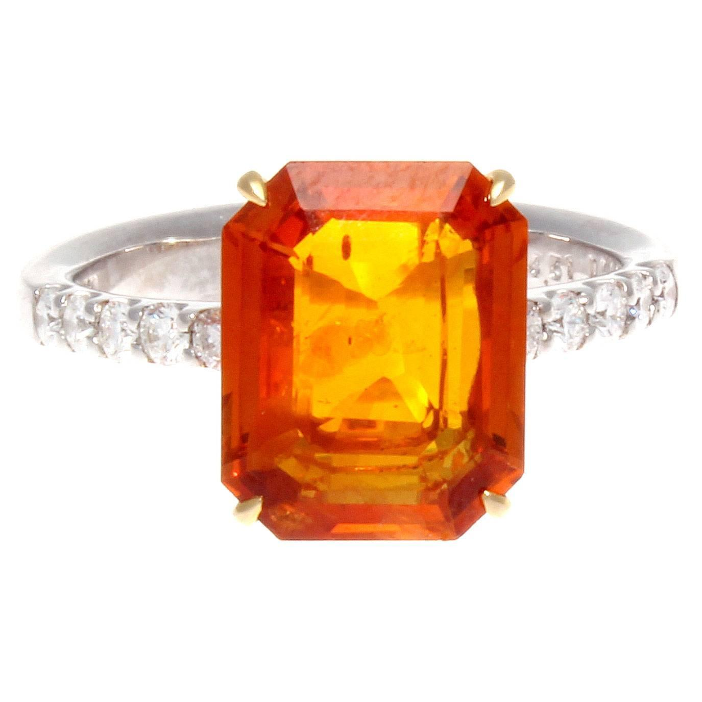 4 51 carat orange sapphire gold engagement