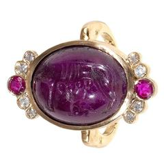 Antique Ruby Diamond She Wolf Signet Intaglio Ring