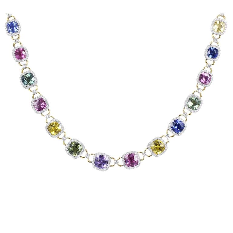 Multicolor Sapphire Diamond Gold Necklace