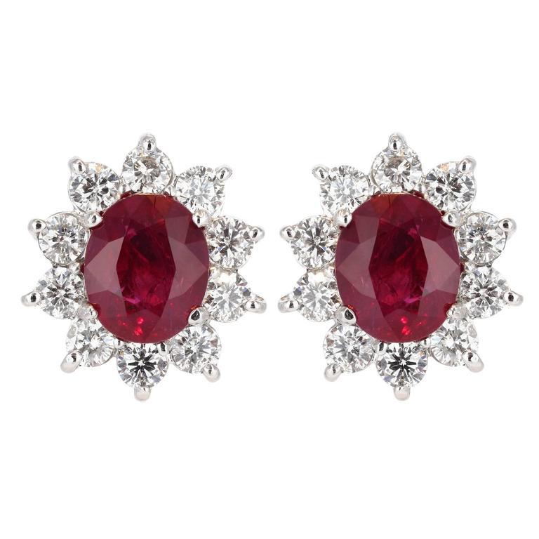 6.22 Carat Burma Ruby Diamond Gold Earrings