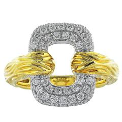 Open Work Diamond Two Color Gold Ring