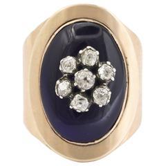 15 Karat Striking Victorian European Cut Diamond Enamel Floral Ring