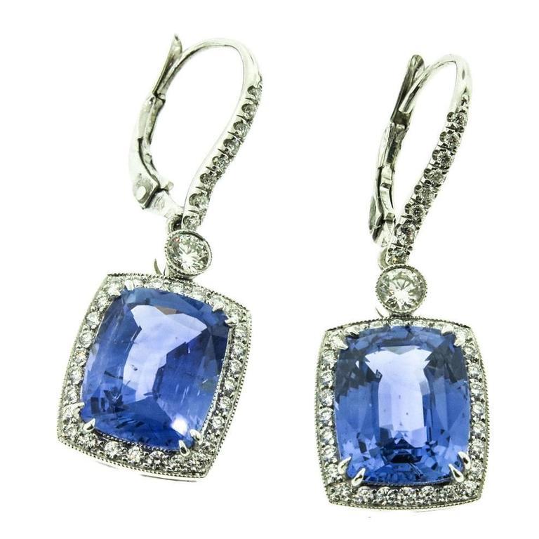 Cushion cut Sapphire Diamond Platinum Earrings
