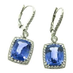 Cushion cut Sapphire Diamond Platinum Earrings