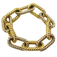 Bold Two-Color Gold Gadroon Motif Link Bracelet