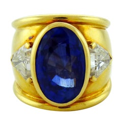 David Webb Certified 17.65 Carat Ceylon Sapphire Diamond Cocktail Ring