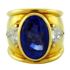 David Webb 17.65 carat Ceylon Sapphire Diamond 18K Yellow Gold Band Ring