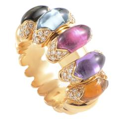 Bulgari Celtica Multi-Gem Diamond Gold Band Ring