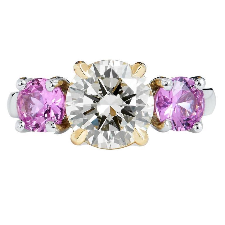 Three Stone Pink Sapphire 1.81 Carat GIA Cert Diamond Gold Platinum Ring