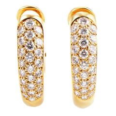 Cartier Partial Diamond Pave Gold Clip-On Earrings